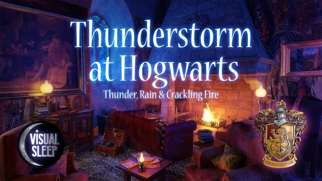 Thunderstorm at Hogwarts, Thunder, rain And Crackling fire Sounds for Sleeping, Relaxing, Studying